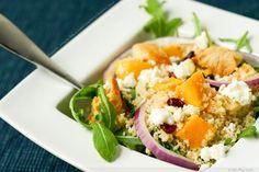Pumpkin, Arugula, Feta & Dried Cranberry Couscous Salad- from FoodPornDaily
