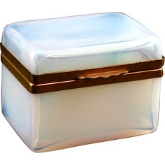 Antique French boule de savon opaline crystal glass Jewelry Box Casket hinged lid from The Box Emporium on Ruby Lane