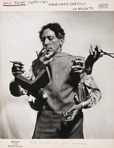 "© Philippe Halsman, ca. 1949, 'The Versatile Jean Cocteau' ""The greatest masterpiece in literature is only a dictionary out of order."" (Jean Cocteau) Before the age of Photoshop, there was Philippe Halsman. His dynamic and imaginative photography broke the rules of the day by going against the soft focus style of the time and giving sharp focus to his subjects. He used both stage and darkroom techniques to produce gravity defying objects and invented new ways of interacting with subjects."