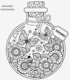 Coloring for adults. A glass vessel with memories of summer. A bottle with bees, butterflies, ladybug and leaves