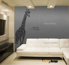 original design giraffe wall decals giraffe wall stickers nature wall decal glass door wall decals Africa animal handmade and custom