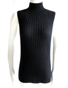 AGNONA * Black CASHMERE RIBBED KNIT SLEEVELESS TURTLENECK SWEATER TOP~50/14~ $87.50