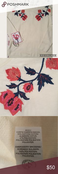 "LUCKY BRAND ~ TOP Pretty cream with pretty orange embroidery flowers decorative around round neck🦋   Size Small Armpit to Armpit 21"" Armpit  Down 16"" Lucky Brand Tops"