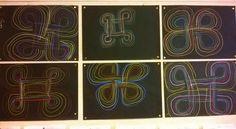 Kalevalanpäivän alla tutustuimme perinteiseen ornamentiikkaan. Hannun vaakunaa harjoiteltiin ensin kauan lyijykynällä harjoituspaperille. Sitten, kun kädessä alkoi olla varmuutta, annettiin mustat paperit ja väriliidut ja lupa kokeilla lopullista työtä. (Alakoulun aarreaitta / Kaija Sälevä) Origami, Classroom, Drawings, Painting, Class Room, Painting Art, Paintings, Drawing, Portrait