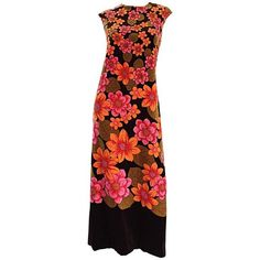 Preowned 1960s Dynasty Pink + Orange + Brown Velvet Vintage Late 60s... ($850) ❤ liked on Polyvore featuring dresses, maxi dresses, pink, pink dress, red dress, red vintage dress and flower print dress