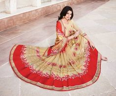 Buy Fashionnow Cream And Red Embroidered Georgette Designer Saree With Blouse Piece Viviana 04 online at best prices. Get discount on Designer Sarees, Sarees with home delivery from Fashionnow.