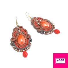 Pomarańczowo-szare długie kolczyki sutasz. Orange grey medium soutache earrings autumn