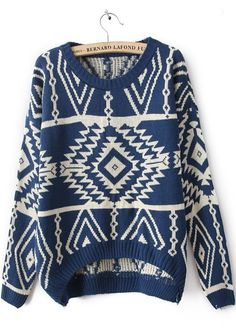 Blue Long Sleeve Geometric Pullovers Sweater
