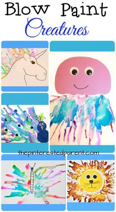 art for kids Blow paint creatures with printables - this is such a fun way for the kids to paint. Make a jellyfish, unicorn, lion, butterfly or a peacock. crafts for kids and preschoolers. Arts And Crafts For Teens, Art And Craft Videos, Arts And Crafts House, Arts And Crafts Projects, Projects For Kids, Bubble Painting, Painting For Kids, Art For Kids, Kid Art