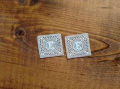2 square monogram E - antique cotton lace embroidered art nouveau monogram - vintage craft supply by Yebisu on Etsy