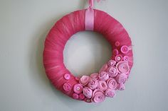 Beautiful DIY wreath tutorial.  Pink on #pink--roses and buttons.  Great decoration for October, Breast Cancer Awareness Month.