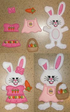 In the Hoop Un Paper Doll Bunny Embroidery Design with Accessories, Set of 7 designs - 4x4, 5x7, and 6x10 hoops -Instant Download