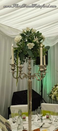White Wedding Flowers Crooke Church Waterford. Reception Mount Juliet, KK Mount Juliet, White Wedding Flowers, Church Wedding, Ladder Decor, Reception, Candles, Home Decor, Candy, Interior Design