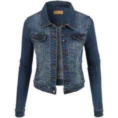 LE3NO Womens Classic Vintage Long Sleeve Denim Jean jacket ($34) ❤ liked on Polyvore featuring outerwear, jackets, coats, jean jackets, long sleeve jean jacket, vintage jean jacket, vintage jacket, vintage denim jacket and blue jean jacket