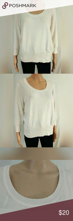 """Large Roz & Ali Dressbarn Pullover Sweater New Large L Dressbarn Roz & Ali 3/4 Sleeve Scoopneck Pullover Sweater  Condition: new with tags  Color: ivory  Material: 78% rayon, 22% polyester  Pit to pit: 20""""  Top to bottom: 24""""  3/4 sleeve, low scoopneck, ribbed neckline and hem Dress Barn Sweaters Crew & Scoop Necks"""