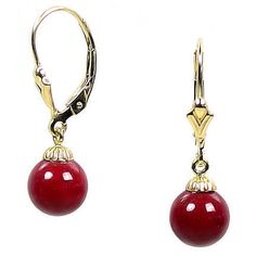 8mm Red Coral Ball Drop Leverback Earrings 14K Yellow Gold - Trustmark Jewelers