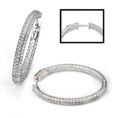 Sterling Silver Oval Rhodium Plated Pave CZ Earrings 4mm Thick & 45mm Wide In Diameter & Locking clasp