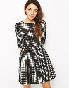 People Tree Organic Cotton Smock Dress In Check Print