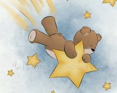 11 x 14 Teddy Bear Baby Nursery Wall Art Childrens Art Print