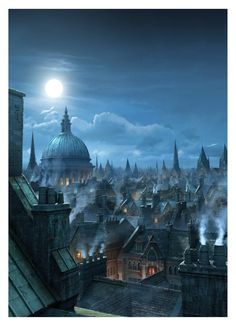 """[image] Title: London Rooftops, Matte Painting Name: Raphael Lacoste Country: Canada Software: max, Photoshop Hello there, I did this Matte Painting here at RodeoFX for Annie Leibovitz Disney Parks campaign """"Di… Victorian London, London 1800, Victorian Era, Fantasy City, Fantasy Places, Fantasy Rooms, Throne Of Glass, Matte Painting, London Underground"""