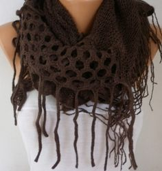 Coffee Knitted Infinity ScarfFall Winter by fatwoman on Etsy