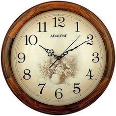 """Adalene 14"""" Vintage Wooden Wall Clock Flower Dial Large Living Room Home Decor #Adalene #VintageRetro"""