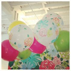 Lilly Pulitzer balloons; and a background to take pictures! :)
