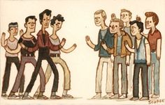 """""""When you're a Jet, you're a Jet all the way! From you first cigarette your last dyin' days."""" Great Showdowns by Scott c. 1961 Movies, My Life Is Boring, Scott Campbell, Fan Art, About Time Movie, Sound Of Music, All The Way, Musical Theatre, No Way"""