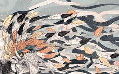 animals horns feathers digital art wallpaper
