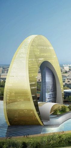 Kempinski Crescent Hotel Baku, part of The Crescent Development Project, Baku Azerbaijan designed by Heerim Architects and Planners :: 36 floors, height 136m #modern ☮k☮ #architecture #futuristicarchitecture