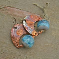 Copper and Lampwork Earrings by KristiBowmanDesign.etsy