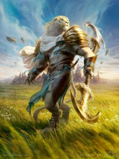"""Wind echoes across the plains and makes this warrior's presence even more majestic.   """"MtG Ajani, Valiant Protector"""" by depingo"""