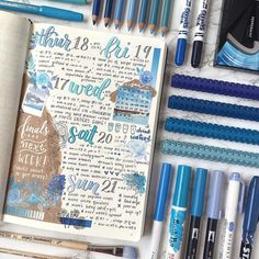 """5,478 Likes, 15 Comments - Notebook Therapy (@notebook_therapy) on Instagram: """"Beautiful blue spread by @sleepy.bujo  #notebooktherapy"""""""