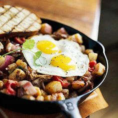 Beef sirloin served over a hearty hash makes a delicious family-style dinner. Add fried eggs for an even more filling meal.