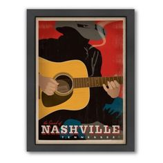 Sound of Nashville Smoking Guitar Man Framed Wall Art by Anderson Design Group advertises one of the great guitar stores, Chambers Guitars, with a striking image of a musician playing, his cigarette glowing in the dark. Framed and ready to hang. Metal Wall Art, Framed Wall Art, Framed Postcards, Nashville Art, Nashville Tennessee, Vintage Travel Posters, Poster Vintage, Vintage Art, 5 D