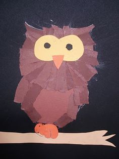 kinder torn paper owls - to use up all the brown scrap paper from the 3rd grade project