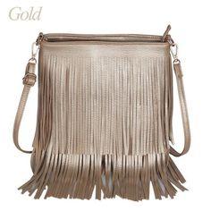 Women's Large Fashion Fringe PU Leather Quality Handbag 2 Colors