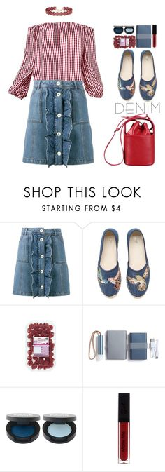 """Spring Trend: Denim (preppy)"" by beebeely-look ❤ liked on Polyvore featuring Ganni, RED Valentino, LEXON, FACE Stockholm, preppy, ruffles, sammydress, denimskirt and Checked"