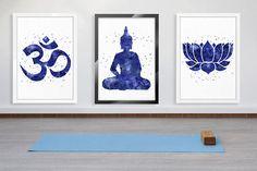 Yoga Studio Decor Spiritual Print Lotus Buddha New Age