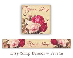 Etsy shop banner and avatar Personalized pre- made banner Vintage Etsy shop set Digital Download Vintage pink shabby roses Cute bookmarks Paper goods made by FrezeArt