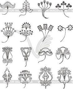 Einfache florale Ornamente im Jugendstil - vektorisiertes Design
