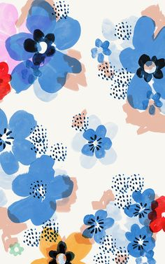 Blue flowers pattern by Emily Isabella #print #illustration