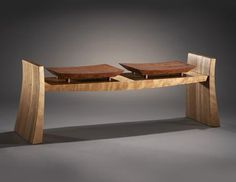 Floating bubinga seats atop a sculpted Cherry base. The striking design of the Flare Bench can be made in one to three seat configurations. Other wood combinations are Woodworking Joints, Woodworking Workbench, Woodworking Furniture, Furniture Plans, Wood Furniture, Woodworking Projects, Furniture Design, Wood Projects, Woodworking Classes