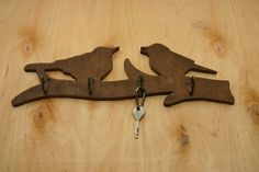 Handmade Two birds on a tree shaped wooden key holder от marizhen