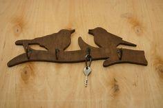 Handmade Two birds on a tree shaped wooden key holder от marizhen