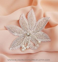 Rhinestone Applique Crystal Applique Beaded by CodyLovesCleo Tambour Beading, Tambour Embroidery, Bead Embroidery Patterns, Silk Ribbon Embroidery, Hand Embroidery Designs, Lesage, Rhinestone Appliques, Jewelry Patterns, Bead Crafts
