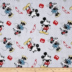 Disney Mickey and Minnie Vintage Toss Grey from @fabricdotcom  Licensed by Disney to Springs Creative Products, this cotton print is perfect for quilting, apparel and home décor accents. Colors include red, black, grey, blue, yellow and white. This is a licensed fabric and not for commercial use.