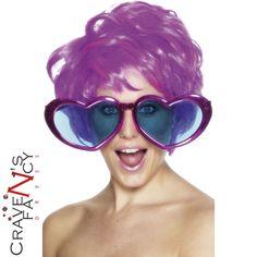 487abad00e5 Jumbo Heart Shaped Specs Giant Oversized Disco Sun Glasses 70s Fancy Dress