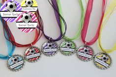 Soccer Team Gift - Soccer Party Favors - Soccer Necklace - Free Customization - Set of 6 - Zebra Collection