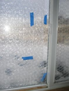 BubbleWrap window to increase the R value from to about Cutting heat loss in HALF! Bubble Wrap Window Insulation, Bubble Wrap Windows, Sunroom Windows, Foil Insulation, Recycling, Winter Survival, Camper Makeover, Isolation, Home